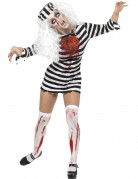 Zombie Gefangene Sträfling Halloween Damenkostüm schwarz-weiss