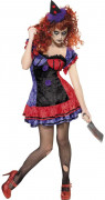 Teuflischer Zirkus Clown Halloween Damenkostüm schwarz-rot-lila
