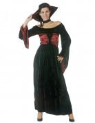 Vampirin-Damenkostüm mit Zierkragen schwarz-rot