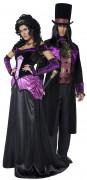 Halloween gothic Graf und Gräfin Paarkostüm schwarz-lila