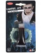 Set Halloween Vampir Make-up Zubehör Gebiss und Kunstblut weiss-rot