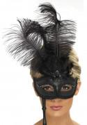 Venezianische Stab-Maske mit Federn schwarz