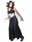 Elegantes Vampir-Kostüm für Damen Vampirgräfin schwarz-rot