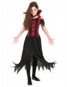 Vampir-Mädchenkostüm mit auffälligem Rock schwarz-rot
