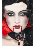 Vampirset Zähne Halloween Make-up Zubehör 4-teilig weiss-rot