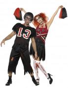 Footballer-Cheerleader-Zombie Halloween Paarkostüm schwarz-weiss-rot