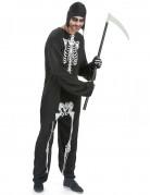 Skelett-Overall mit Kapuze Halloween-Herrenkostüm schwarz-weiss