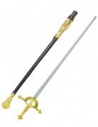 Florett mit Scheide Spielzeug-Waffe gold-silber-schwarz 73 cm