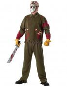 Jason™-Deluxekostüm für Herren Freitag der 13. Halloween-Kostüm grün-rot