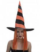Gestreifter Hexenhut mit Haaren orange-schwarz