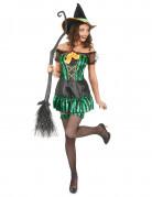 Gestreiftes Hexenkostüm Halloween-Kostüm grün-schwarz