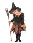 Kinder-Hexenkostüm Halloweenverkleidung schwarz-grün-orange