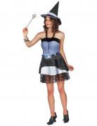 Attraktives Hexenkostüm Halloweenkostüm für Damen blau-schwarz