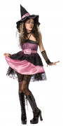 Bezaubernde Hexe Halloween-Damenkostüm schwarz-rosa