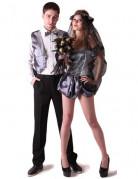 Gothic-Brautpaar Halloween-Paarkostüm in Satin-Optik 4-teilig grau