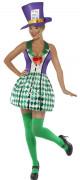 Verrückter Hutmacher Damenkostüm Halloween violett-grün
