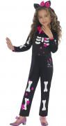 Hello Kitty Skelett Halloween Lizenz-Kinderkostüm schwarz-weiss