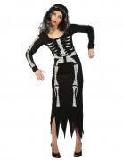 Skelett Skelettfrau Halloween Damenkostüm schwarz-weiss
