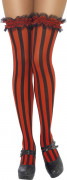 Overknees Stockings Strümpfe Rüschen schwarz-rot