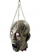 Verstümmelter Zombie Kopf Halloween Party-Deko grau 19x16x31 cm