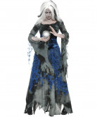 Zombie Wahrsagerin Halloween Damenkostüm grau-schwarz-blau