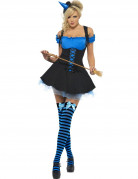 Hexe Zauberin Magierin Halloween Damenkostüm schwarz-blau