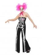 Skelett Hosenanzug Halloween Damenkostüm schwarz-weiss