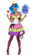 Halloween Psycho Clown Damen Kostüm bunt