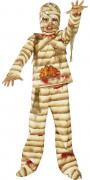 Blutige Mumie Halloween Kinderkostüm braun-beige-rot