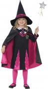 Hexe Zauberlehrling Kinderkostüm pink-schwarz