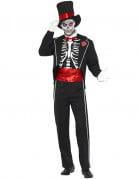 Skelett im Frack Halloween Kostüm schwarz-weiss-rot