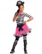 Gothic-Piratenkostüm für Mädchen schwarz-weiß-pink
