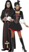 Unheiliges Paar Priester und Vampirin Halloween-Paarkostüm schwarz-rot-gold