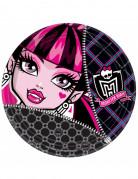 Pappteller Monster High Kindergeburtstag-Deko 8 Stück schwarz-pink 23cm