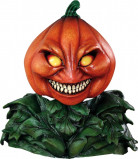 Gruseliger Kürbis Halloween-Latexmaske orange-grün