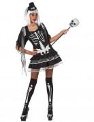 Süsses Skelett Halloween-Damenkostüm schwarz-weiss