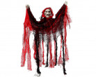 Skelett mit Kapuze Halloween-Hängedeko schwarz-rot 50x39cm
