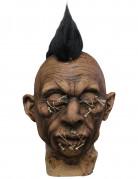 Voodoo Halloween Dekoration Kopf mit Haaren braun