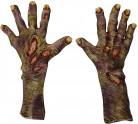 Zombie Erwachsenen-Handschuhe für Halloween rot-grün grau
