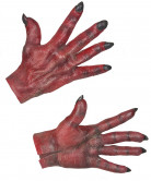 Teufel Handschuhe Halloween Kostümaccessoire rot