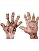 Zombie-Handschuhe für Halloween hautfarben-grau