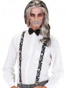 Totenkopf-Hosenträger Halloween Kostümzubehör schwarz-weiss