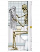 Skelett auf Toilette Halloween-Türposter bunt 76x152cm