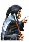 Sensemann-Aufkleber für Autoscheiben Halloween Dekoraton Spaßartikel schwarz-silber 30,5 x 43,2 cm