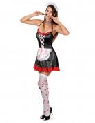 Blutiges Zimmermädchen-Halloweenkostüm für Damen schwarz-weiss-rot