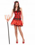 Heisse Teufelin Halloween-Damenkostüm rot-schwarz