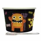Süsses Monster Halloween Dessert-Set Becher mit Löffel 24-teilig bunt