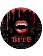 Blutige Vampirbiss Halloween Papp-Teller 8 Stück bunt 23cm