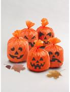 Kürbis-Tüten Halloween Deko 5 Stück orange-schwarz 15x20cm
