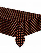 Schwarze Tischdecke mit orangen Tupfen schwarz-orange